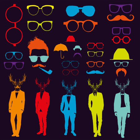 Set of glasses and men with deer heads Vector