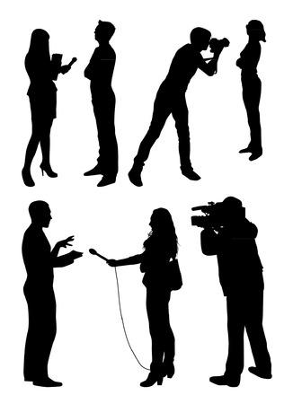 Interview Silhouetten Stock Illustratie