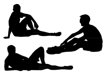 figure out: Sitting Boys Silhouettes Illustration