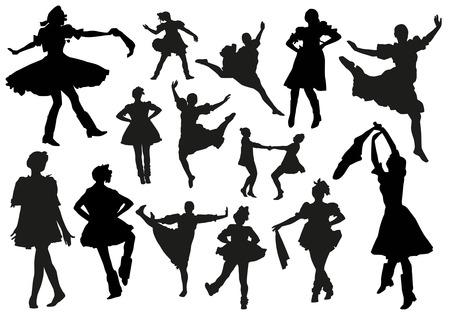 folk dancing: Folk dancers silhouettes