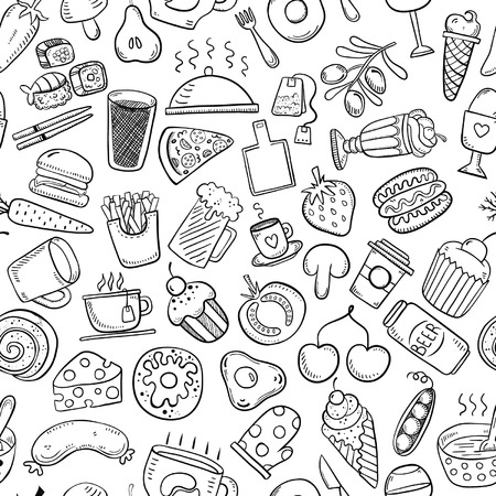 Seamless food and drink background Stock Illustratie