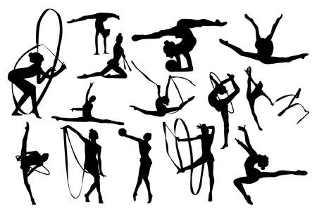 Gymnastiek silhouetten Stock Illustratie