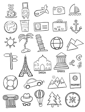travel locations: Set of travel doodles