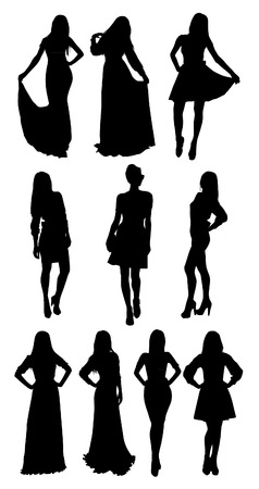 Vrouw stellen silhouetten Stock Illustratie