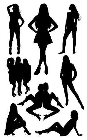 young girl nude: Set of posing woman silhouettes Illustration
