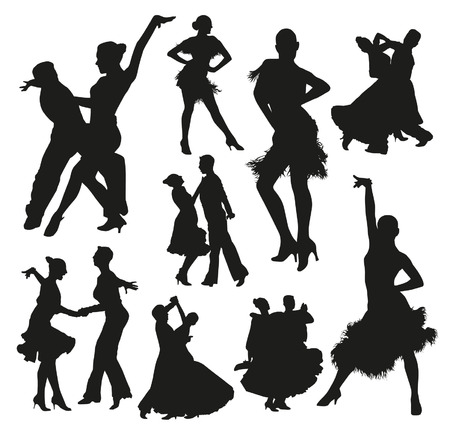 Ballroom dance silhouetten Stock Illustratie