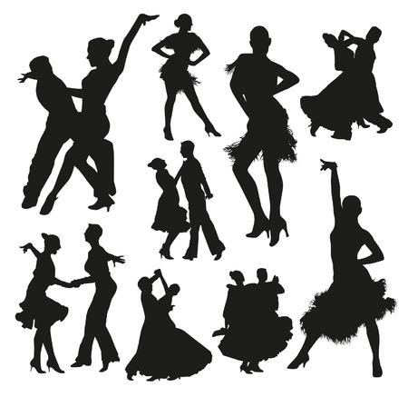 pareja bailando: Siluetas de baile de salón