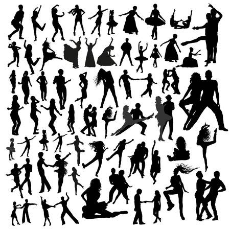 Dansende silhouetten Stock Illustratie