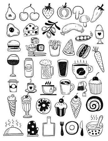 food drink: Hand drawn food objects
