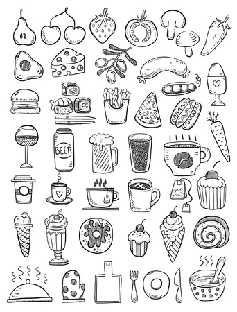 coffee cup vector: Hand drawn food objects