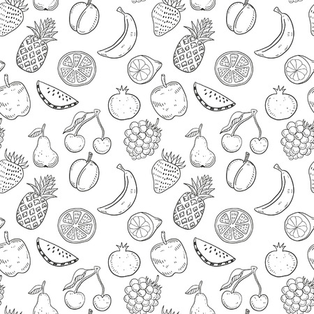 line vector: Hand drawn fruits seamless pattern