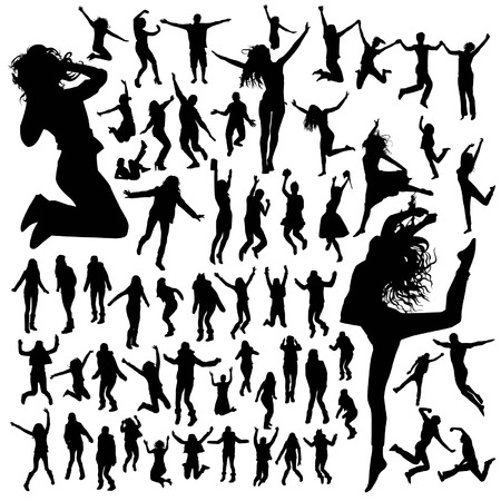 nude female: Jumping people silhouettes Illustration