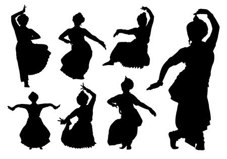 Indiase dansers silhouetten Stock Illustratie
