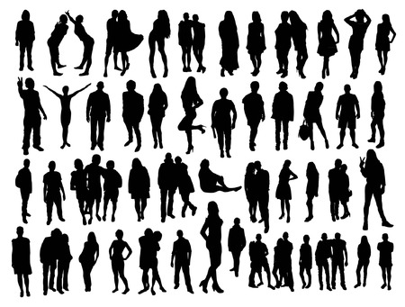 people isolated: people silhouettes Illustration
