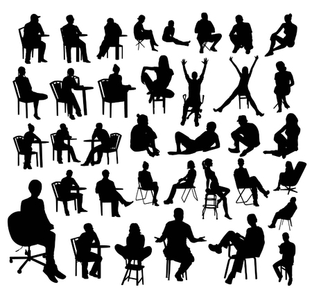 sitting at table: Sitting people silhouettes Illustration