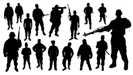 silhouette soldat: Silhouettes Soldier Illustration