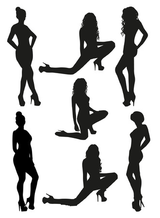 nude adult: Woman Silhouettes Illustration