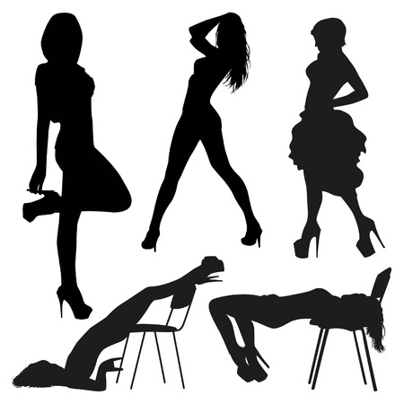 nude women: Sexy silhouettes Illustration