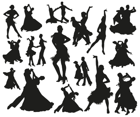 latin couple: Dance silhouettes