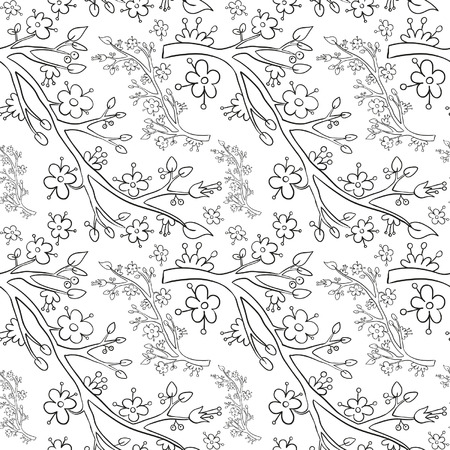 cherry blossom: Branches seamless background