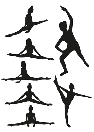 gymnastics sports: Girls gymnastics silhouettes Illustration