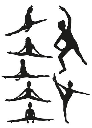 Girls gymnastics silhouettes Illustration