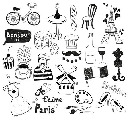 paris vintage: París garabatos Vectores