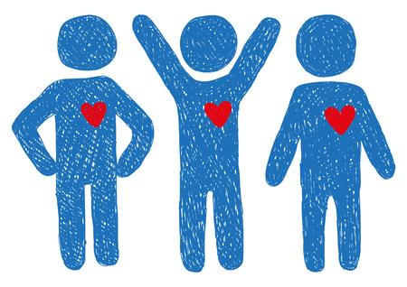 position d amour: Les gens avec des signes de coeurs Illustration