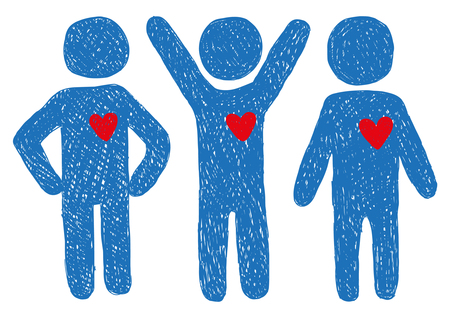 hand sign: People with hearts signs Illustration