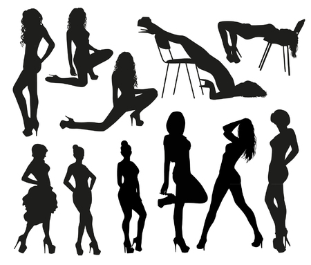naked female: Sexy silhouettes Illustration