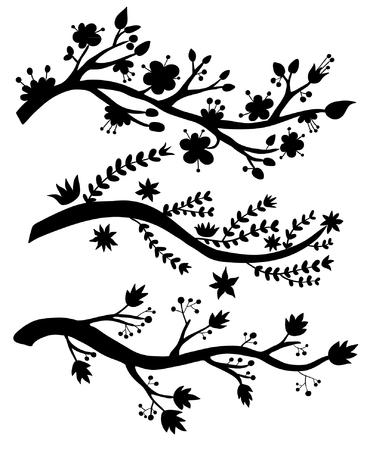 simple flower: Branches silhouettes Illustration