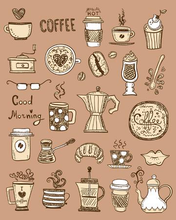capuchino: Doodles de café Vectores