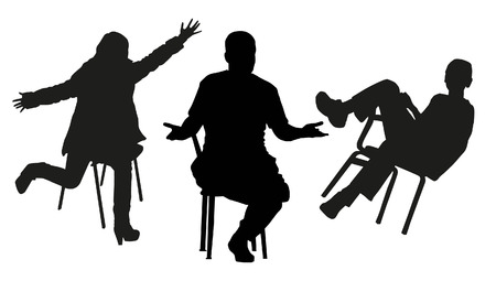 gente sentada: Sentado siluetas personas