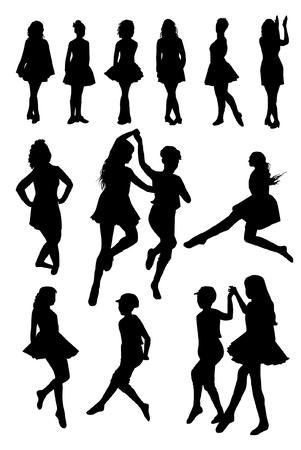 Silueta De Bailarines De Danza Folclórica Nacional De Irlanda ...