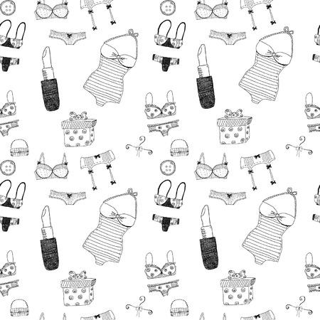 underclothing: Women accessories seamless pattern Illustration
