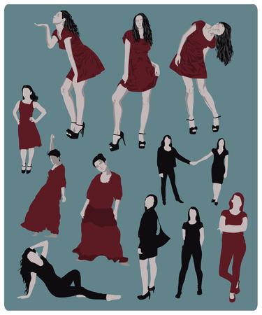poses de modelos: siluetas niña