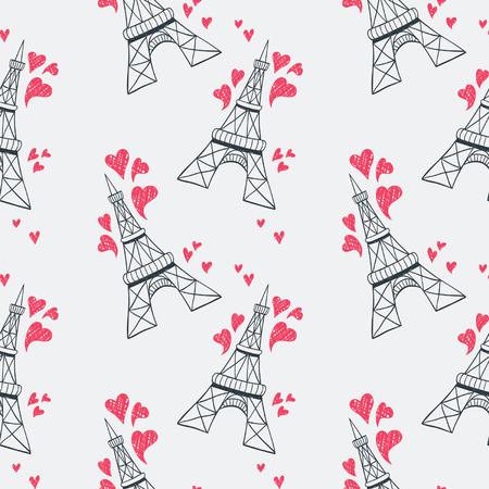 gallic: Eiffel tower seamless pattern