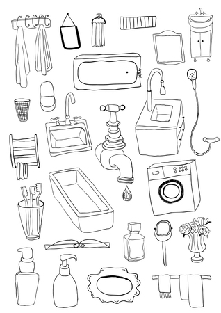 sketch drawing: Bathroom objects Illustration