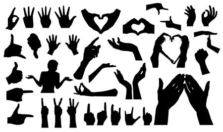 two point: Set of Hands Illustration