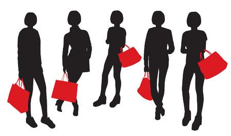 to go: Women Shopping Silhouettes Set