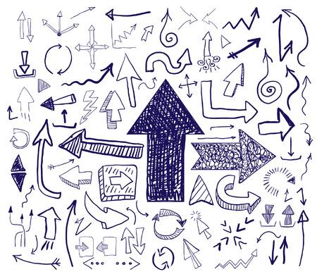 describe: hand drawn arrows set Illustration