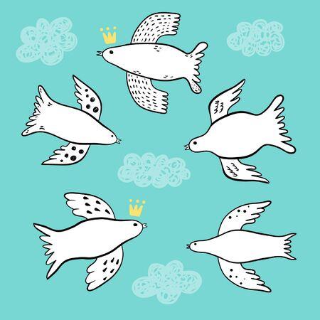 pigeon owl: Flying birds doodle