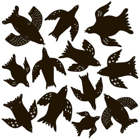 pigeon owl: birds doodle Illustration