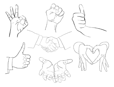 heart hands: Set of Hands Illustration