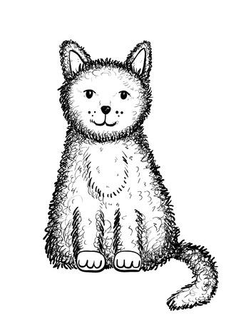 ink drawing: cat doodle Illustration