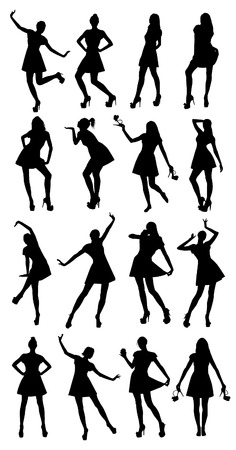 women body: Posing woman silhouettes
