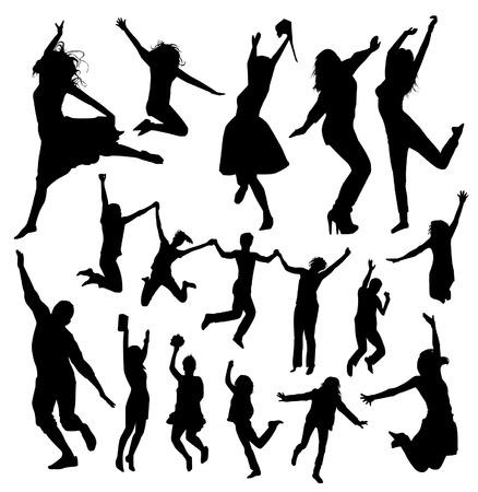personas saltando: Siluetas de salto de la gente Vectores