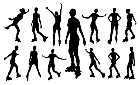 woman back: Silhouettes of roller girl