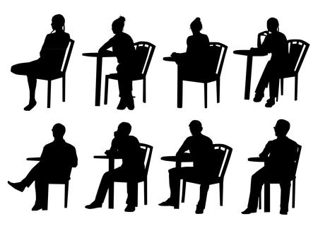 personen: Zitten mensen silhouetten Stock Illustratie