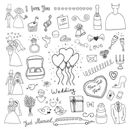 anillo de boda: conjunto de boda Vectores